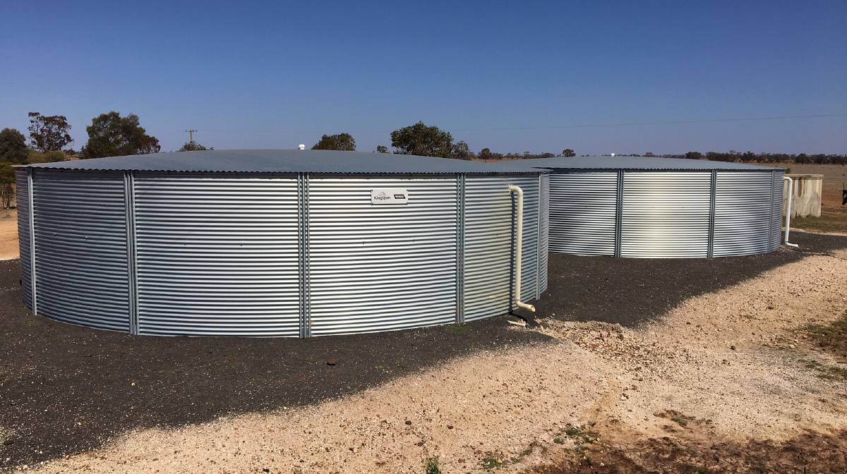 The water for Woodlands is sourced from two, high-flow bores with the water moved around the property through a new system of 110mm to 63mm pipes to six Kingspan Rhino RT-365 water tanks.