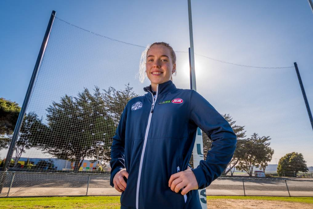 BIG GOALS: East Launceston-raised Mia King is remaining focused on a long career for North Melbourne Tasmania Magpies beyond this coronavirus year. Picture: Phillip Biggs