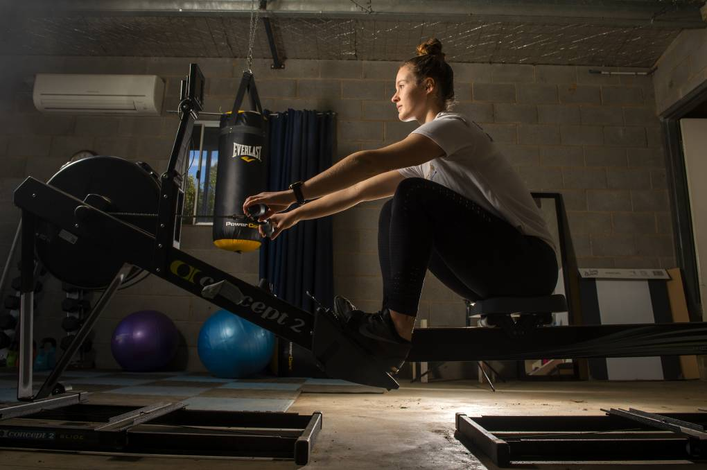 The family's farm at Elmore might be a long way from the water, but that hasn't stopped Livia from doing whatever she can to improve her rowing ability. Picture: DARREN HOWE