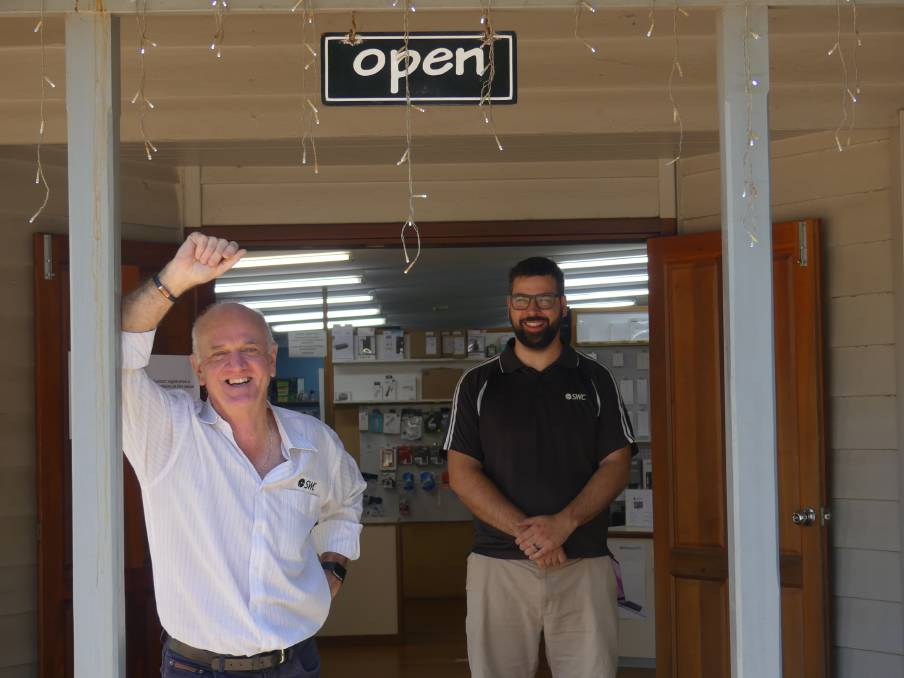 Stepping down: Ross Hastie and Dylan Winfield at South West Computable. After 27 years with the business he founded, Ross retires this week, and Dylan takes over.